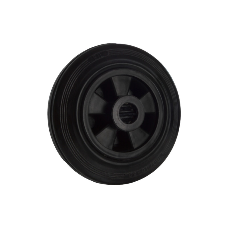 B-G Racing - 160mm Black Polypropylene Wheel with Rubber Tread