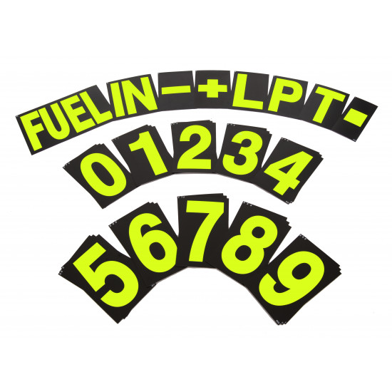 B-G Racing - Large Yellow Pit Board Number Set