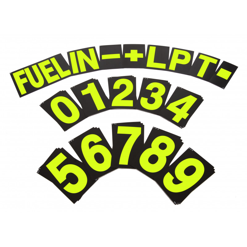 B-G Racing - Standard Yellow Pit Board Number Set